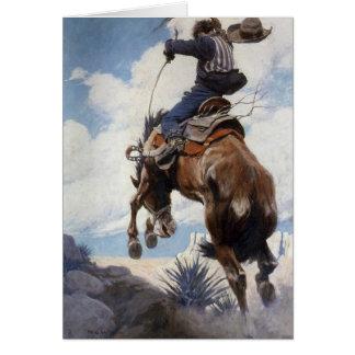 Vintage Cowboy Christmas, Bucking by NC Wyeth Greeting Card
