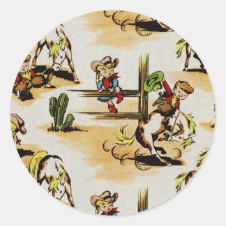 Vintage Cowboy Cowgirl  Round Sticker
