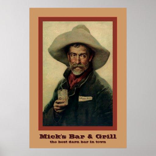 Vintage Cowboy Personalised Bar Poster