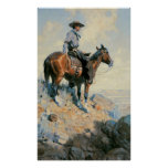 Vintage Cowboy, Sentinel of the Plains By Dunton Poster
