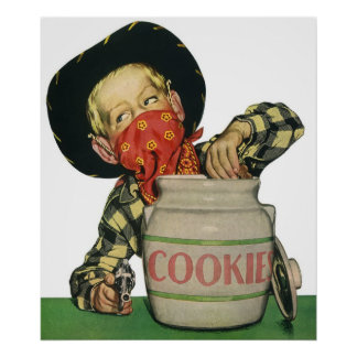 Vintage Cowboy Toy Gun Hand in the Cookie Jar Poster