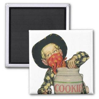 Vintage Cowboy Toy Gun Hand in the Cookie Jar Square Magnet