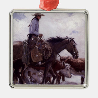 Vintage Cowboy with His Herd of Cattle by Koerner Christmas Ornament