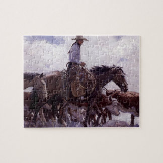 Vintage Cowboy with His Herd of Cattle by Koerner Jigsaw Puzzle