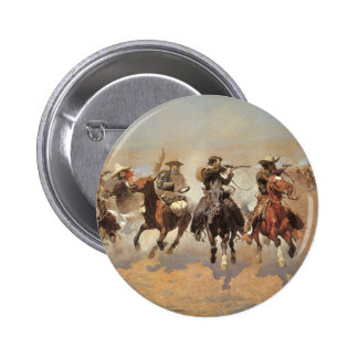 Vintage Cowboys, A Dash For Timber by Remington 6 Cm Round Badge