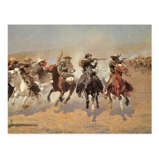 Vintage Cowboys, A Dash For Timber by Remington Postcard
