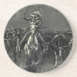 Vintage Cowboys, A Stampede by Frederic Remington Beverage Coasters