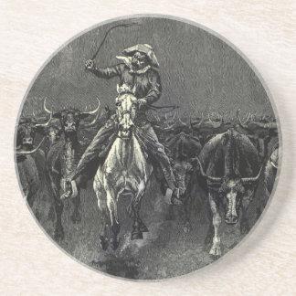 Vintage Cowboys, A Stampede by Frederic Remington Coaster