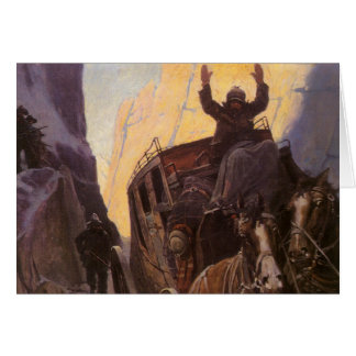 Vintage Cowboys, Hold Up in the Canyon by NC Wyeth Card