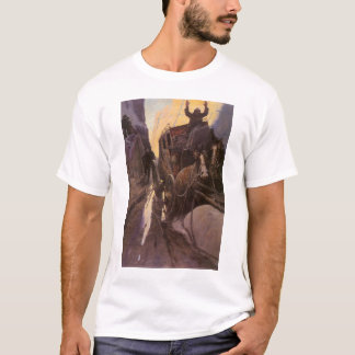 Vintage Cowboys, Hold Up in the Canyon by NC Wyeth T-Shirt