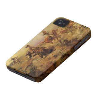 Vintage Cowboys, Jerked Down by CM Russell iPhone 4 Cover