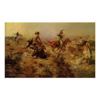 Vintage Cowboys, Jerked Down by CM Russell Poster