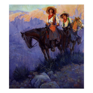 Vintage Cowboys, Man and Woman on Horses, Anderson Poster