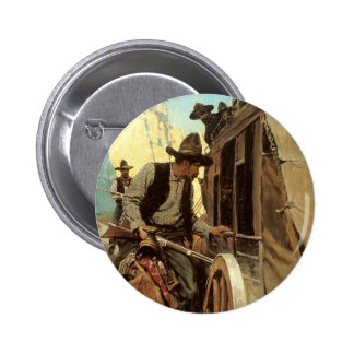 Vintage Cowboys, The Admirable Outlaw by NC Wyeth 6 Cm Round Badge