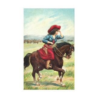 "Vintage Cowgirl 18""x29"" Canvas Print"