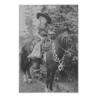 VINTAGE COWGIRL (BLACK AND WHITE) POSTER