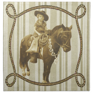 Vintage Cowgirl Cloth Napkins