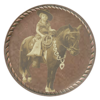 Vintage Cowgirl Collection Western Dinner Plate