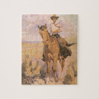 Vintage Cowgirl Cowboy, Woman on Horse by Dunton Jigsaw Puzzle