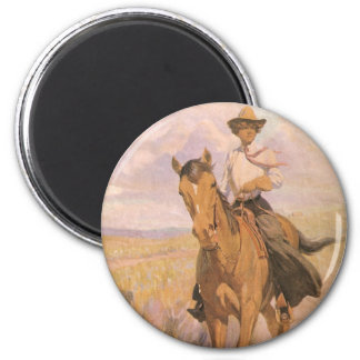 Vintage Cowgirl Cowboy, Woman on Horse by Dunton Magnet