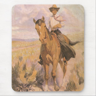 Vintage Cowgirl Cowboy, Woman on Horse by Dunton Mouse Mat