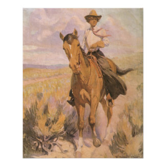 Vintage Cowgirl Cowboy, Woman on Horse by Dunton Poster