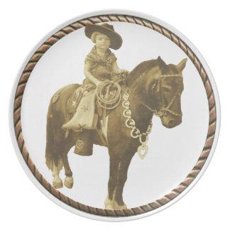 Vintage Cowgirl Dinner Plate
