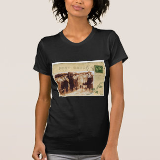 Vintage Cowgirl Group Photo Postcard Western T-Shirt