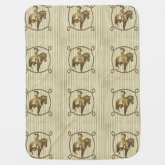Vintage Cowgirl On Horse Baby Blanket