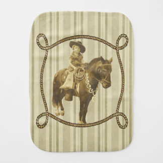 Vintage Cowgirl On Horse Burp Cloth
