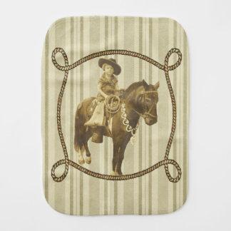 Vintage Cowgirl On Horse Burp Cloths