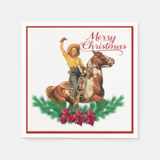 Vintage Cowgirl On Horse Merry Christmas Napkins Paper Serviettes