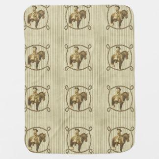 Vintage Cowgirl On Horse Stroller Blanket