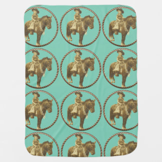 Vintage Cowgirl On Horse Swaddle Blankets