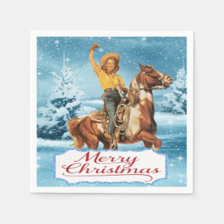 Vintage Cowgirl On Horse Winter Merry Christmas Disposable Napkin