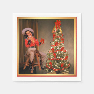 Vintage Cowgirl On Saddle With Christmas Tree Paper Napkin