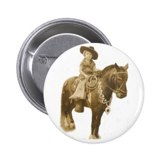 VINTAGE COWGIRL PIN BACK BUTTON