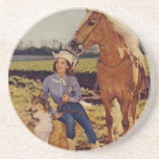 Vintage Cowgirl Sandstone Coaster
