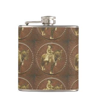 Vintage Cowgirl Western Whiskey Flask