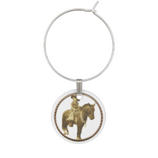Vintage Cowgirl Wine Charms