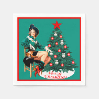 Vintage Cowgirl With Christmas Tree Merry Christma Paper Serviettes