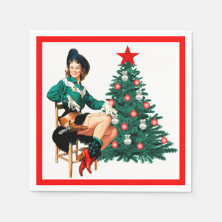 Vintage Cowgirl With Christmas Tree On White Disposable Serviettes