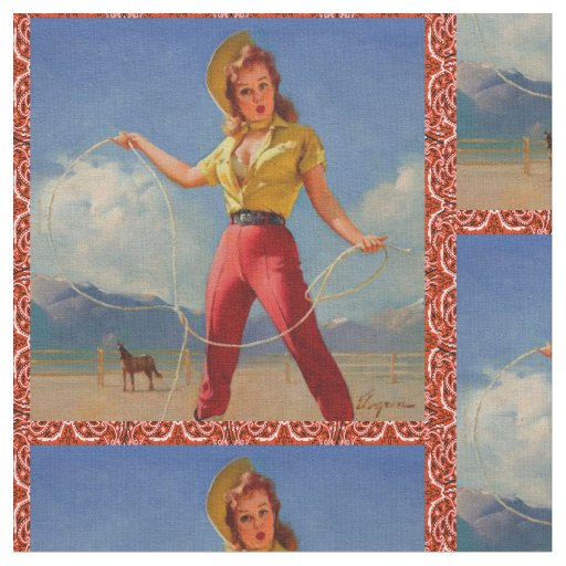 Vintage Cowgirl With Rope Fabric
