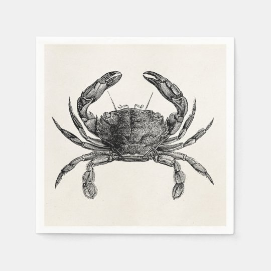 Vintage Crab Antique Crabs Personalised Template Disposable Napkins