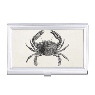 Vintage Crab Antique Crabs Personalized Template Business Card Holder