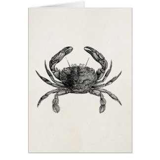 Vintage Crab Antique Crabs Personalized Template Greeting Card