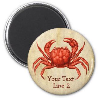 Vintage Crab Design Personalized 6 Cm Round Magnet