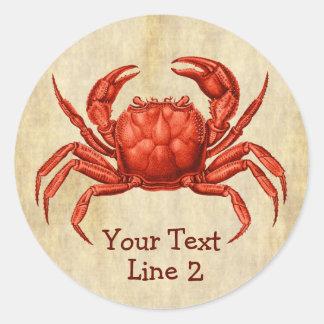 Vintage Crab Design Personalized Text Round Sticker