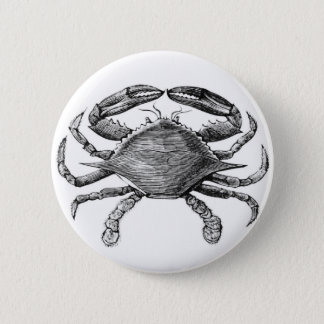 Vintage Crab Drawing 6 Cm Round Badge