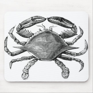 Vintage Crab Drawing Mouse Mat